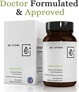 Rebalance Probiotic Supplement - Dr. Ian Stern Formulated - for Superior Digestion & Immunity – W/Organic Prebiotic & L-Glutamine - 20 Billion CFU - 60 Capsules