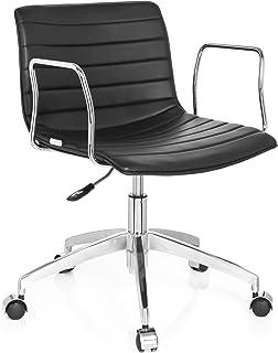 hjh OFFICE 720030 silla de oficina LEVI PU piel sintética negro, silla inclinable, muy cómodo, con apoyabrazos de cromo, fácil de limpiar, aluminio pulido, estable, silla escritorio, sillón oficina, silla Home Office