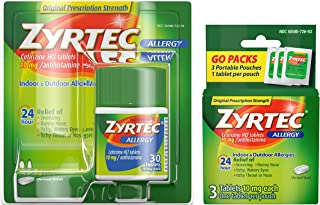Zyrtec 24 Hour Allergy Relief Tablets, Antihistamine Allergy Medicine with 10 mg Cetirizine HCI, Bundle with 1 x 30 ct and...