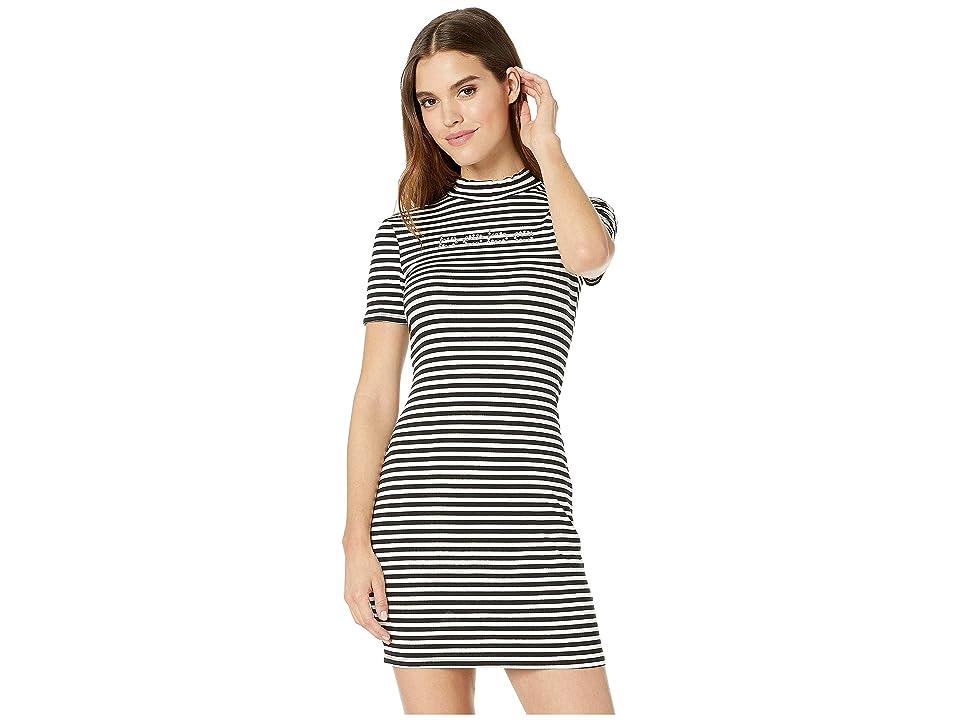 Bebe Short Sleeve, Mock Neck Striped Logo Dress with V-Back Detail (Black/White) Women