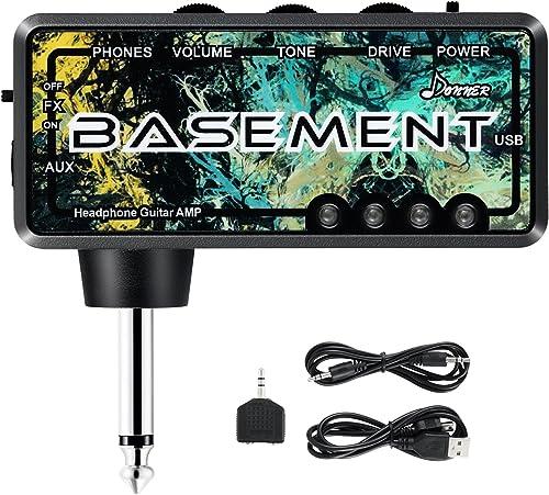 Donner Basement Ampli Casque pour Basse Guitare, Mini AmPlug Amplificateur avec Effet Wah Rechargeable