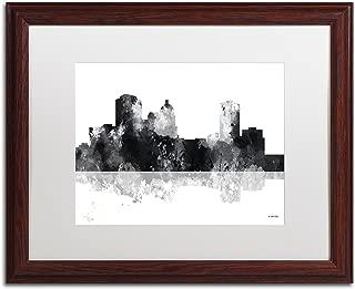 Montgomery Alabama Skyline BG-1 by Marlene Watson, White Matte, Wood Frame 16x20-Inch
