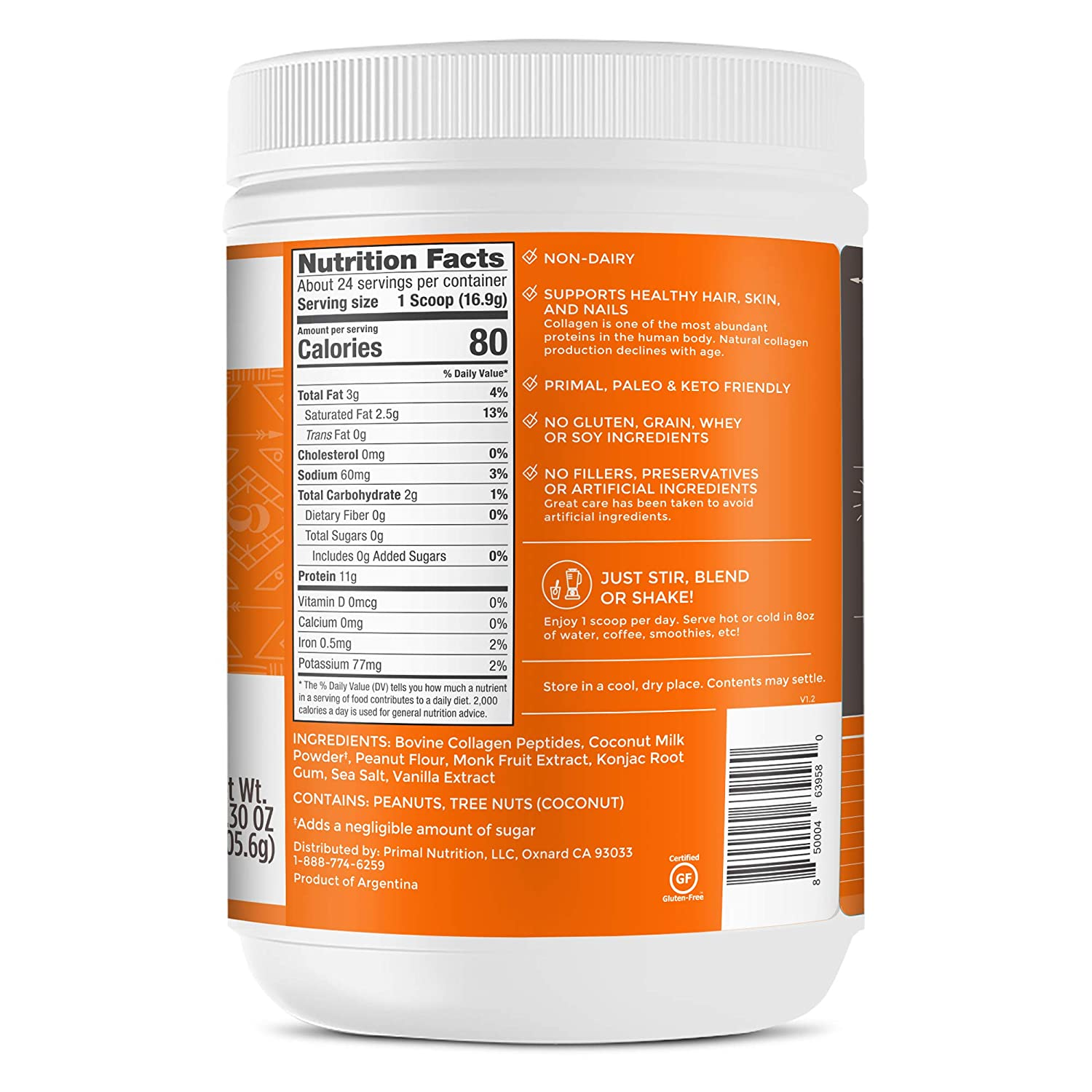Amazon Com Primal Kitchen Peanut Butter Collagen Fuel Drink Mix Non Dairy Coffee Creamer Smoothie Booster Supports Healthy Hair Skin And Nails Health Personal Care