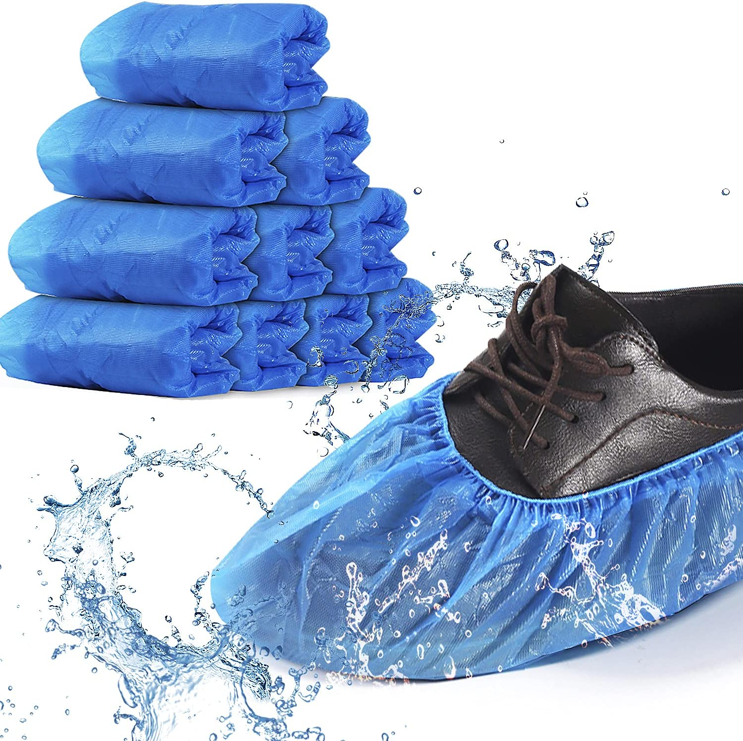 Hitituto Shoe Covers Disposable -100 Pack (50 Pairs) Disposable Shoe & Boot Covers Waterproof Slip Resistant Non Slip, Durable Boot&Shoes Cover, One Size Fits All (Clear Blue) (CPE Plastic)