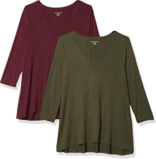 Amazon Essentials Women's 2-Pack 3/4 Sleeve V-Neck Swing Tee