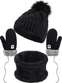 Bluelans Cute Baby Boys Girls Warm Soft Winter Knitting Cap Ear Protector Hat Ball Decor Black