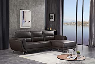 FUNRELAX Sectional Sofa Set L Shaped Comfortable Leather Corner Reclining Couches and Sofas for Living Room Modern Right Chaise Sectional Home Furniture,Coffee Color,Right Facing