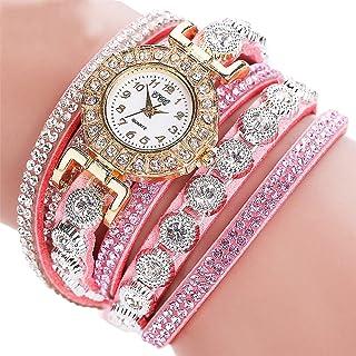 OWMEOT⌚Women Luxury Crystal Women Gold Bracelet Quartz Wristwatch Rhinestone Clock Ladies Dress Gift Watches