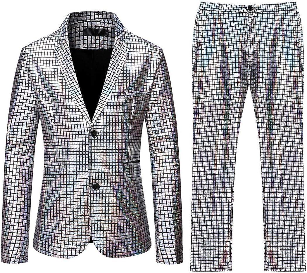 Men's Shiny Suit 2 Piece Sequins Jacket Blazer Tuxedo for Party,Banquet,Nightclub
