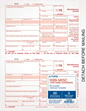 TOPS 1099-MISC Tax Forms for 2019, 5-Part Inkjet/Laser Form Sets for 50 Recipients, 3 1096 Summary Transmittal Forms (TX22993)