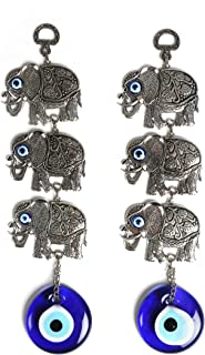 Ahenque 2 Piece Identical Round Evil Eye Glass Wall Hanging with Metal Triple Elephant Figure, Turkish Glass Nazar Charm, Hanging Decoration Ornament, Gift for House Warming (Triple Elephant)