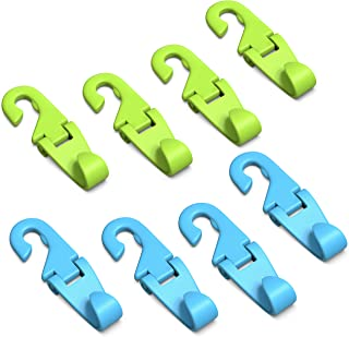 Universal Fit Multifunctional Headrest Hooks | Car and Trunk Seatback Organizers for Parents and Kids – Set of 8 (Blue/Green)