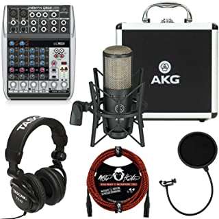 AKG Project Studio P220 Large-Diaphragm Cardioid Condenser Microphone Bundle with Behringer Xenyx Q802USB Mixer with USB, Tascam TH-02 Closed Back Studio Headphones and Accessories (4 Items)