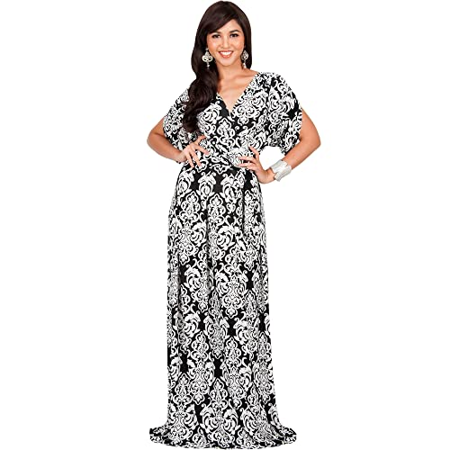 KOH KOH Womens Long Summer Flowy Short Sleeve V-Neck Printed Gown Maxi Dress d515a55ff