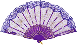 Amajiji Folding Hand Fans,Fashion Elegant Flower Rose Lace Chinese/Japanese Folding Fan (Purple)