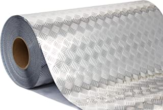 Industrial Utility Diamond Plate Metallic Chrome Finish Vinyl Wrap Underlayer Sheet Adhesive Roll for Shelves Walls Flooring (17.8 inches x 10ft)