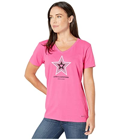 Life is Good Superpower Star Crushertm Vee (Fiesta Pink) Women