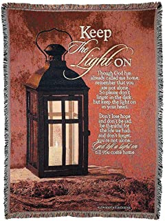 Dicksons Keep The Light on Lantern on Red 52 x 68 All Cotton Tapestry Throw Blanket