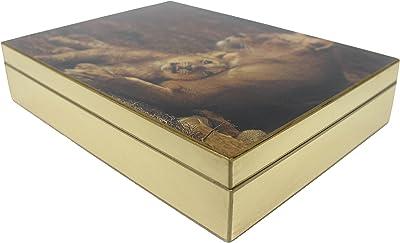 SIGNATURE HOME COLLECTION FC-108-091 Caja con diseño de León, 27 x 20 x 6 cm, Caja, Caja, Crema
