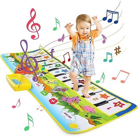 LEADSTAR Tapis de Musique, Tapis Musical Bébé, Piano Tapis Enfants, 100x36cm 8 Sons D'instruments Modes Multi Tapis de Danse Musicale Tapis de Sol Jouets Educatifs pour Enfants, Filles et Garçons