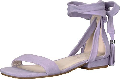 Kenneth Cole New York Wohommes Valen Strappy Ankle WrapSandal with Tassel Flat Sandal, Lavendar, 7 M US