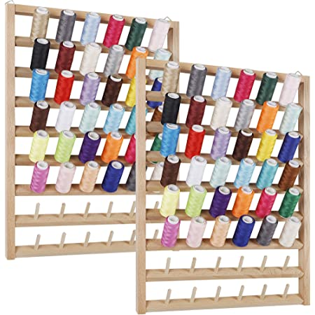 SAND MINE 2 Pack 48-Spool Thread Rack, Wall-Mounted Thread Holder, Wooden Thread Holder Organizer for Sewing, Embroidery, Jewelry