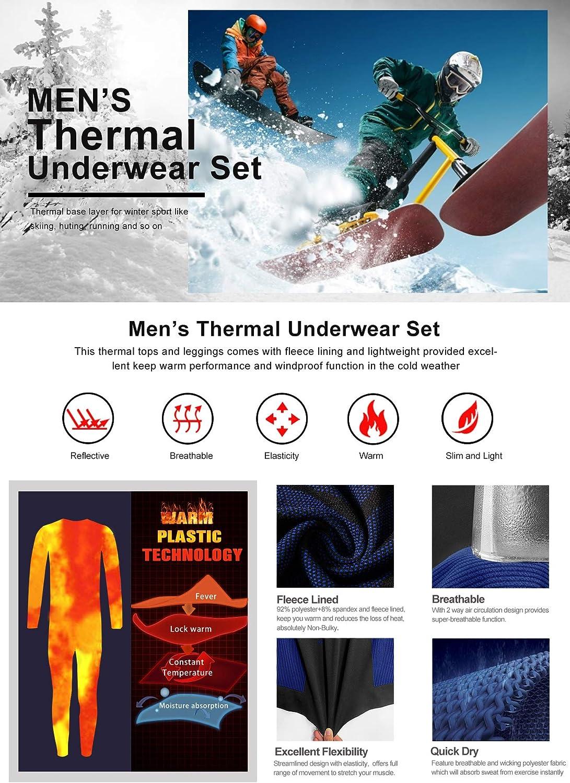 Intimo Termico Invernale Maglia Termici Pantaloni Base Layer per Sci Corsa Ciclismo MEETYOO Biancheria Intima Termica Uomo