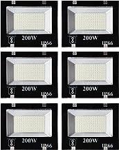 Gesto® 200 Watt Ultra Thin Slim Ip66 LED Flood Outdoor Light Cool White Waterproof- 200W,Pack of 6