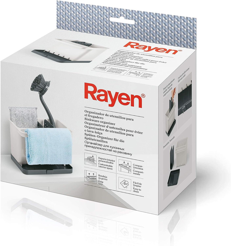 Rayen Organizador de Utensilios para el Fregadero | Espacio Interior Personalizable | Compartimentos | Bandeja de Goteo | Fácil de Limpiar, Gris Claro y Gris Oscuro, Medidas: 17 x 13,3 x 11,5 cm