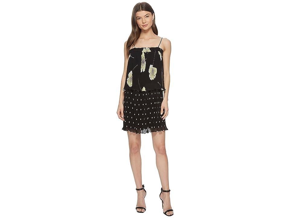 1.STATE Mixed Print Pleated Slip Dress (Rich Black) Women