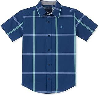 Calvin Klein Boys' Big Plaid Short Sleeve Shirt,