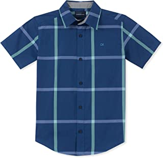 Calvin Klein Boys' Big Plaid Short Sleeve Shirt,