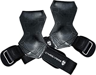 Gymreapers Weight Lifting Grips (Pair) for Heavy Powerlifting, Deadlifts, Rows, Pull Ups, with Neoprene Padded Wrist Wraps...