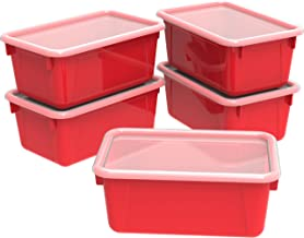 Storex Small Cubby Bins – Plastic Storage Containers for Classroom with Non-Snap Lid, 12.2 x 7.8 x 5.1 inches, Red, 5-Pack...