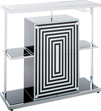 Coaster CO-130076 Bar Unit, Chrome/Black
