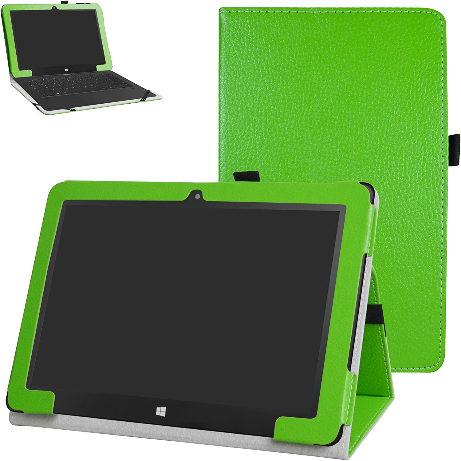 Insignia Flex NSP10W8100   NSP10A8100K Case,Mama Mouth PU Leather Folio 2Folding Stand Cover for 10.1  Insignia Flex NSP10W8100   NSP10A8100K Android Tablet,Green
