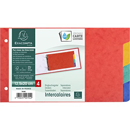 Exacompta - Réf. 704E - Intercalaires pour fiches bristol en véritable carte lustrée souple 225g/m2 FSC® avec 4 onglets neutres - 2 anneaux - Format à classer 125x200mm - couleurs assorties