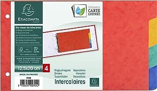 Exacompta - Réf. 704E - Intercalaires pour fiches bristol en véritable carte lustrée souple 225g/m2 FSC avec 4 onglets neu...
