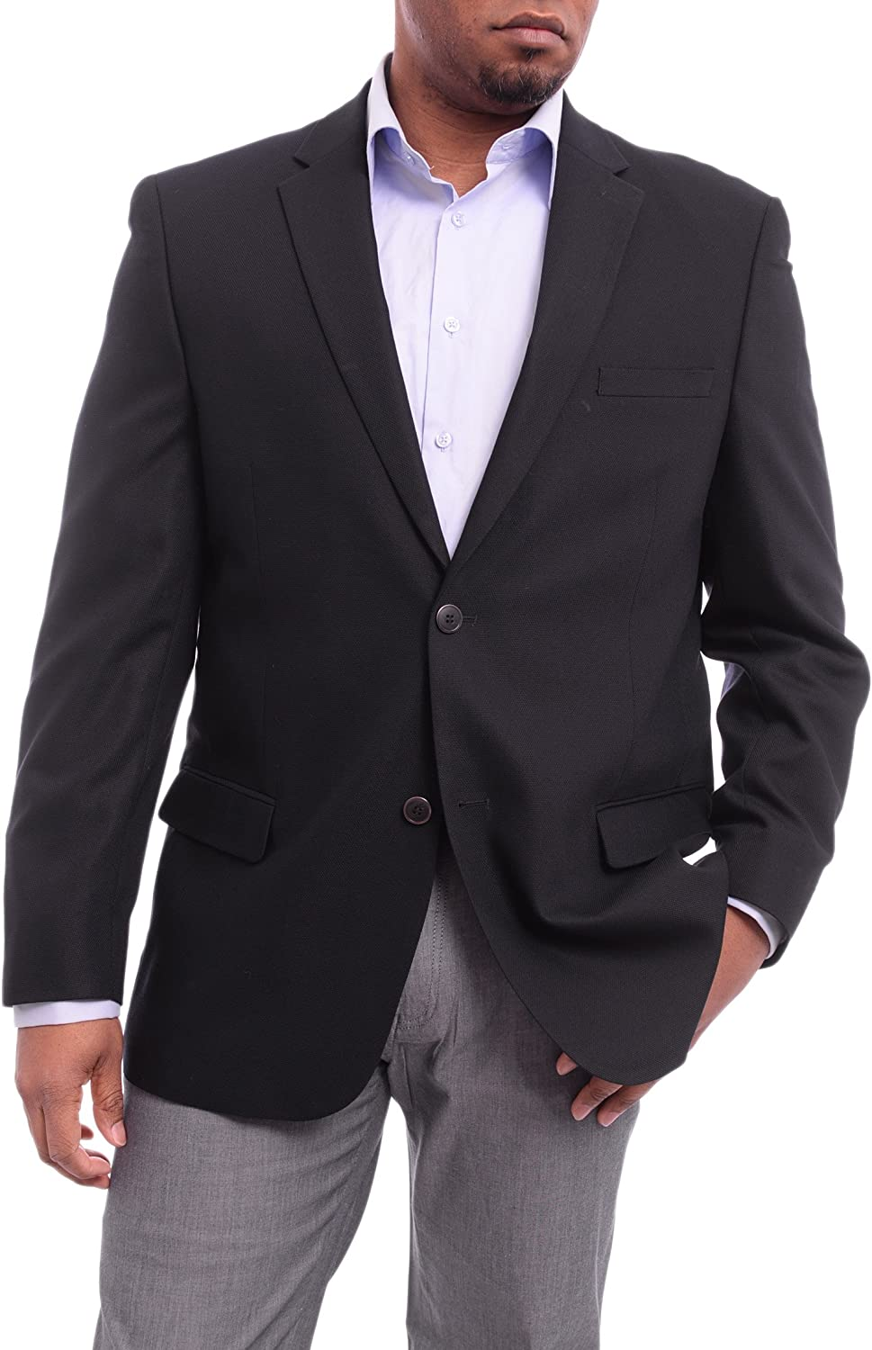 Caravelli Classic Fit Navy Blue Hopsack Weave Two Button Stretch Blazer Sportcoat