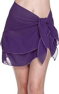 Women's Beach Cover up Short Sarong Dress Pareo Ruffle Swim Skirts Bathing Suit Bikini Chic Wrap Chiffon Shawl