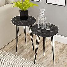 مجموعة من 2 طاولات جانبية - طاولات جانبية مستديرة من باك هوم ماربل لوك من الخشب للمساحات الصغيرة، طاولة بجانب السرير مع أر...