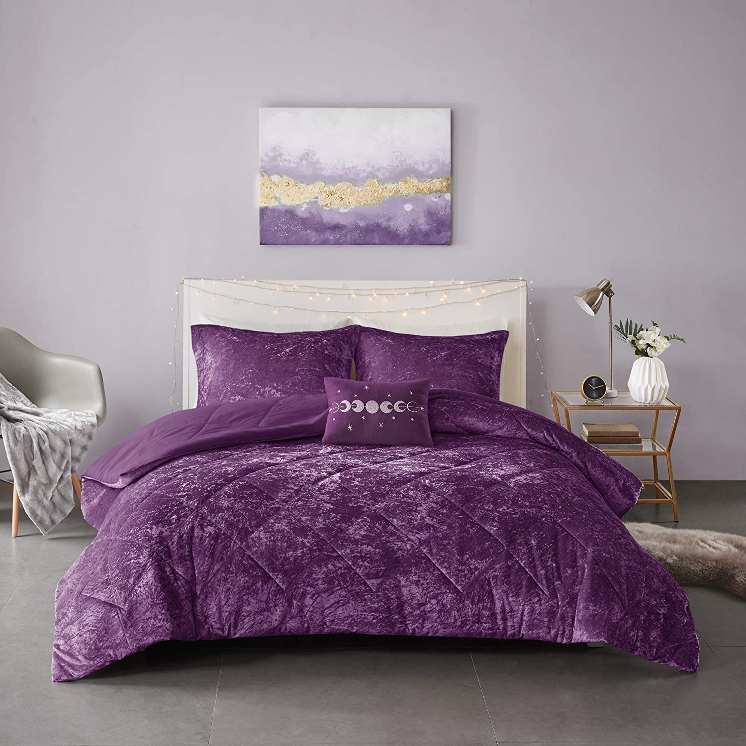 """Intelligent Design Felicia Luxe Comforter Velvet Lush Double Sided Diamond Quilting Modern All Season Bedding Set with Matching Sham, Decorative Pillow, Full/Queen(90""""x90""""), Purple"""
