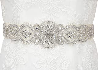 Rhinestone Wedding Bridal Belts and Sashes with Ribbon for Bridal Gown Dress