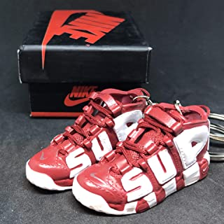 Pair Air More Supreme Uptempo Red Suptempo OG Sneakers Shoes 3D Keychain 1:6 Figure + Shoe Box