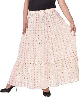 COTTON BREEZE Women's Cotton Pleated Skirt (FP384-B, Multicolour, Free Size)