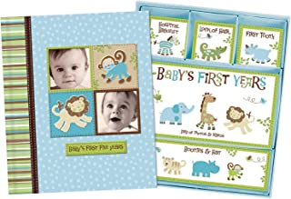 Baby Boy Memory Book Hardcover Record Babys First Five Years Diary Precious Moments Milestone Storage Box Keepsake Scrapbook Journal Photo Album Blue Monkey Animals Art by Jenny and Jeff Designs