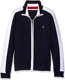 Nautica Boys' Textured Block Stripe Full Zip Sweater