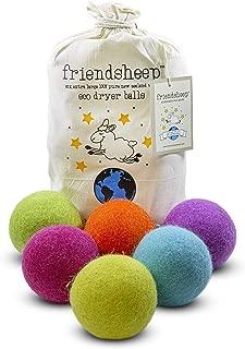 Friendsheep Wool Dryer Balls 6 Pack XL Organic Premium Reusable Cruelty Free Handmade Fair Trade No Lint Fabric Softener Color - Rainbow Blast