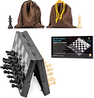 Magnetic Chess Set Brisk Learner - Portable and Educational Kids Adults Travel Toy Board Game - Foldable Table and 2 Cloth Bags Perfect for Storage and Traveling - Free Guide and Rules for Beginners