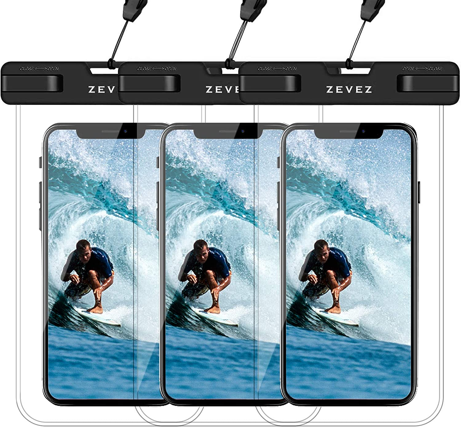 3 Pack Universal Waterproof Case Floating Phone Pouch, Dry Bags for Cell Phone, Summer Water Sports and Dive for iPhone 12 11 Pro Max Xs Max XR X 8 7 Plus, Galaxy S21 Pixel HTC LG Sony Moto Up to 7